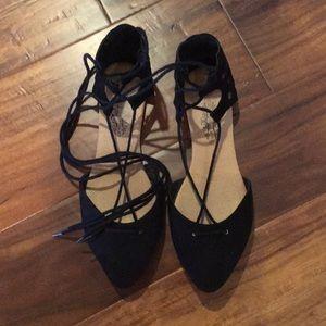 Shoes - black suede lace up flats